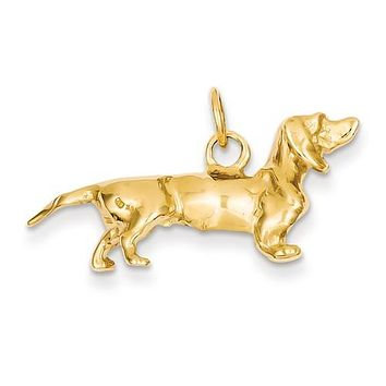 14K Yellow Gold dachshund dog Necklace Charms