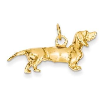 14K Yellow Gold dachshund Necklace Charms