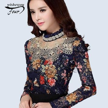 NEW Women Floral Lace fashion casual girl blouse Diamond beaded lace shirt Female Tops women clothes 3115 25