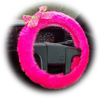 Barbie Pink steering wheel cover faux fur with spotty pink & lime green polka dot Bow