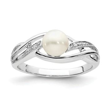 Sterling Silver Diamond And Freshwater Cultured Pearl Ring
