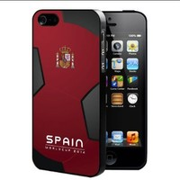 Spain World Cup FIFA 2014 Professional Soccer Sports Team Rubber Silicone TPU Cell Phone Case (iPhone 5/5s)