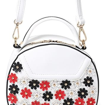 Floral Embellished Round Across Body Bag in White