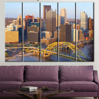 Pittsburgh canvas art, City photography, Citycape canvas, City canvas art, City wall art, Canvas Color Multipanel, Multi Panel Wall Decor