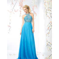 Perry Blue Embellished Halter Chiffon Long Dress 2016 Prom Dresses