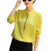 2017 Spring Fashion Chiffon Long Sleeves Women Formal Blouses Office work Blusas Slim Shirts Ladies Simple Classic Tops
