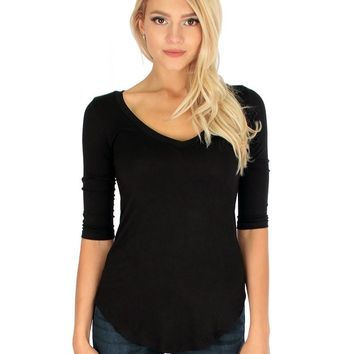 Lyss Loo Truly Madly Deep-V Neck 3/4 Sleeve Black Tunic Top