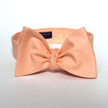 Men's Bow Tie - Peach Solid Bowtie - Freestyle self tie - Adjustable