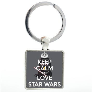 New Arrival I Love Star Wars square keychain vintage fashion movie jewelry for men gift key chain ring holder Father's Day MV70