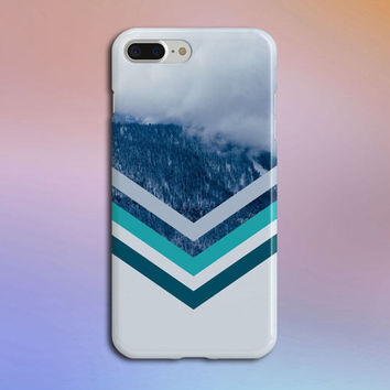 Rolling Fog x Snowcapped Mountain Chevron Phone Case, iPhone 7, Rubber iPhone Case, Galaxy S7 Samsung Galaxy Edge Case Nature CASE ESCAPE