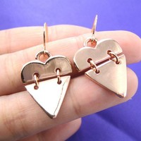 SALE - Heart Shaped Dangle Earrings in Light Copper