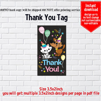 Instant Download, #781 Kitten & Puppy, dog and cat, little girl Party, Thank you TAG, 3.5x2inch printable, non-editable NOT CUSTOMIZABLE