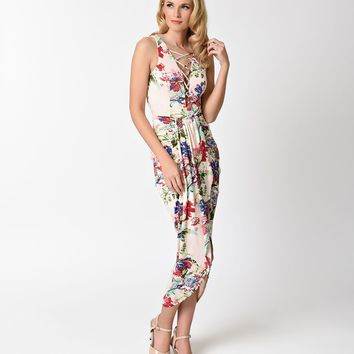 Retro Style Light Pink & Floral Wiggle Wrap Dress