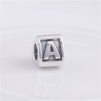 Pure 925 Sterling Silver Jewelry Bead Fits Pandora Charms Bracelet Cubic Letter A Wom