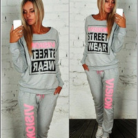 Street Wear Print Women's Tracksuits O-Neck Sport Suit Set Jogging Suits For Women = 5710927553