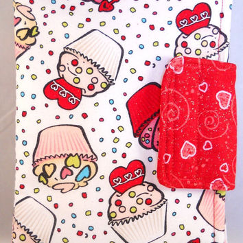 Cute Kindle Fire Case Kindle Fire HD Cases Kindle Fire Cover Red and White Cupcakes Hearts
