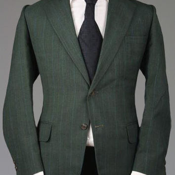 Vtg 60s Towncraft Penneys Dark Green Pinstripe Wool RAT PACK 2 Piece Suit 42 R Monkey Suit