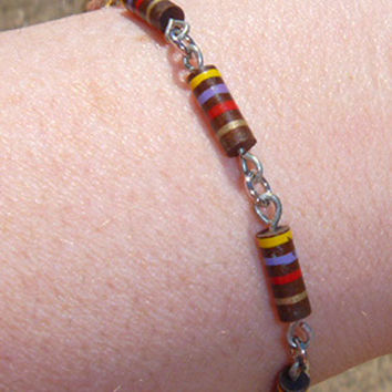 Recycled Computer Part Jewelry  Unisex Bracelet with Brown Striped Resistors