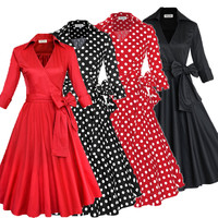 2017 New Summer Style Women Vintage 50s Bow Belted Dress 3/4 Sleeve Swing Turn Down Collar Midi Dresses