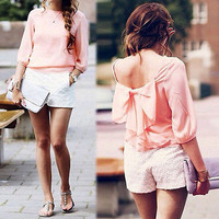 New Fashion Womens Ladies Chiffon Lace Bowknot Mid Sleeve Shirt Casual Backless Blouse Tops