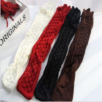 CANIS Socks Women Soft Winter Cable Knit Over Knee Socks Long Boot Warm Thigh High Socks Fashion
