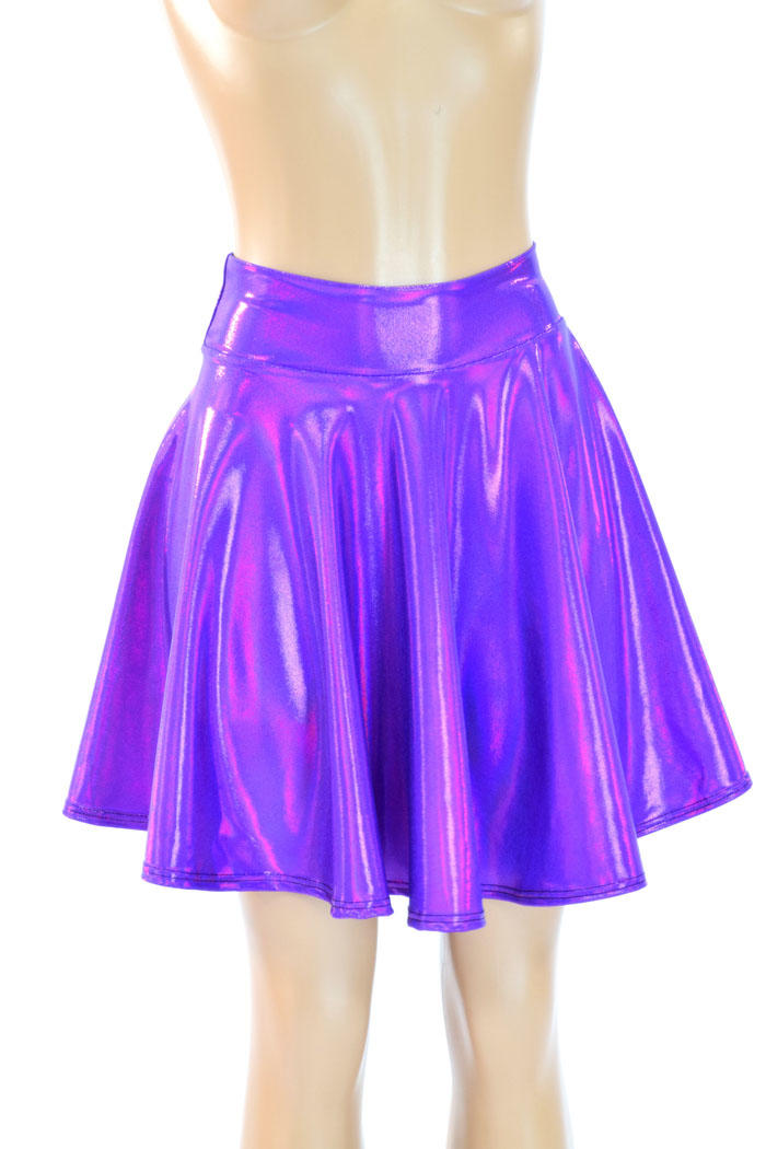 purple holographic metallic skater skirt from coquetry