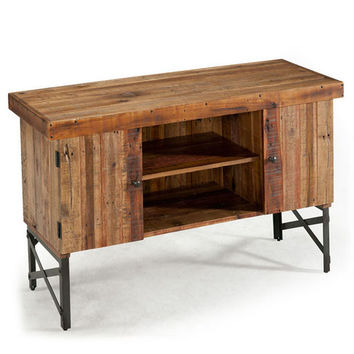 Chandler Reclaimed Wood and Metal Sofa Table with Doors