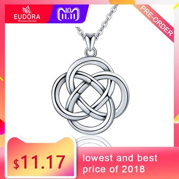 EUDORA Unique Design 925 Sterling Silver Celtics Knot love Pendant Necklaces Twisted Rope Fashion Women Jewelry Party Gift D199