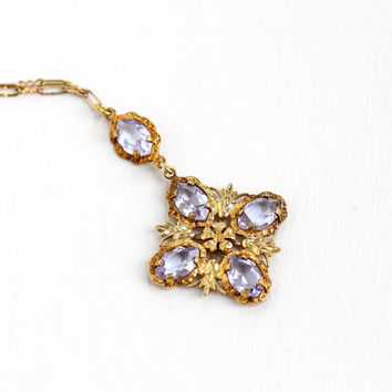 Vintage Art Deco Simulated Alexandrite Lavalier Necklace - 1930s Yellow Gold Washed Purple, Blue Color Change Stone Paperclip Chain Jewelry