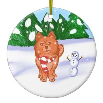 Snow Puppy Ceramic Ornament
