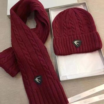 ICIK1W Alexander McQueen Fashion Beanies Knit Winter Hat Cap Scarf Scarves Set Two-Piece-2