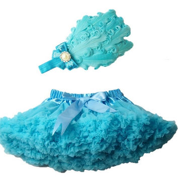 High Quality Baby Girl Outfit Baby Girls Skirt  With Feather Headband Baby Tutu Skirt Children Pettiskirt