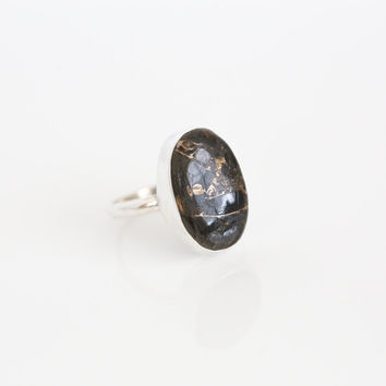 Black Copper Turquoise Ring  in 925 Sterling Silver