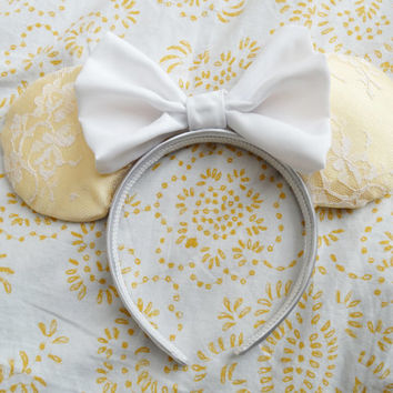 Yellow Lace Minnie Mouse Ears, Lace Disney Ears, Unique Disney Mickey Ears, Yellow Pastel Disney Ears
