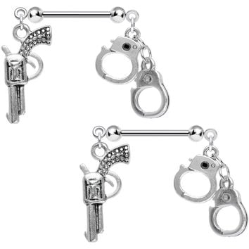 Handcrafted Crime Fighter Gun and Handcuffs Nipple Ring Set