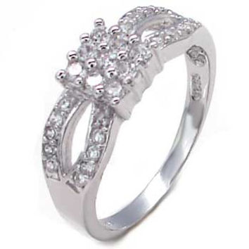Sterling Silver Round Cut CZ Pave Set Princess Style Split Band Engagement Ring Size 5-9