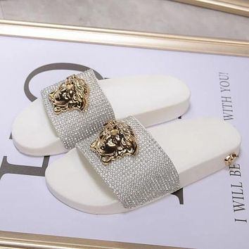 Versace Rhinestone Woman Men Fashion Medusa Slipper Shoes