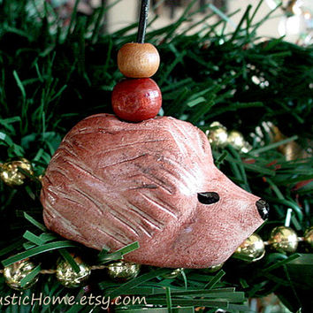 Hedgehog ornament yule nature rustic christmas pottery ornaments