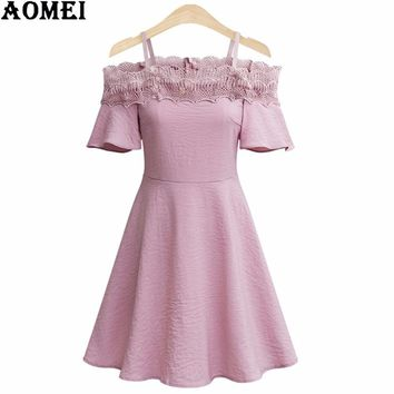 Off the Shoulder Women Lace Summer Mini Dress Blue Black Strap Lolita Casual Pleate Female Clothing Robes