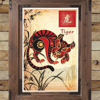 Chinese Zodiac Tiger, asian wall art, Tiger art print, childrens animal art, japanese ink painting, asian wall decor