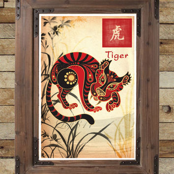 Chinese Zodiac Tiger, Asian Wall Art, Tiger Art Print, Childrens
