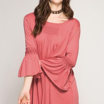 Bell Sleeve Smocking Shift Dress