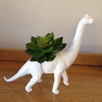 Up-cycled White Apatosaurus Dinosaur Planter