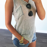 Wild Flowers Stone Striped Tank Top
