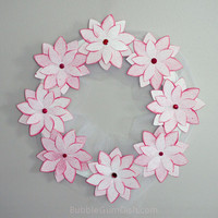 Poinsettia Decor Paper Wreath Holiday Wreath Pink Flowers 12 inch