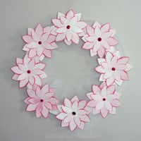 Poinsettia Decor Holiday Wreath Paper Wreath Pink Flowers 12 inch