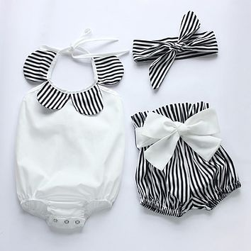3 Piece Striped Romper + Headband + Shorts Set