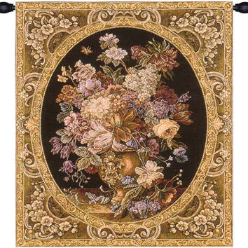 Floral Composition in Vase Dark Green Tapestry Wall Art Hanging