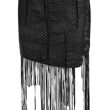 Magda Butrym - Norwich fringed woven leather mini skirt