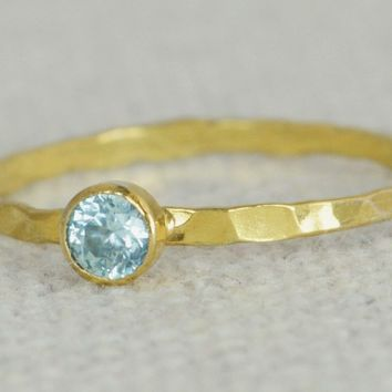 Dainty Gold Filled Aquamarine Ring